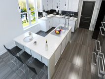 Contemporary style kitchen. 3d render Stock Images