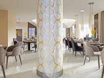 Contemporary stylish interior of new big restaurant. 3d rendering royalty free illustration