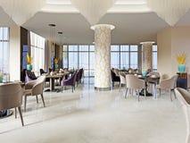 Contemporary stylish interior of new big restaurant. 3d rendering vector illustration