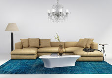 Contemporary stylish living room with blue rug. 3d render of of a contemporary stylish living room interior with blue patchwork rug royalty free stock image