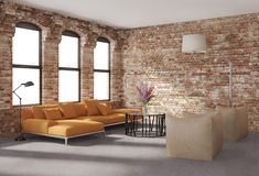 Contemporary stylish loft interior, brick walls, orange sofa. Contemporary stylish loft interior with brick walls, an orange sofaand two beige leather armchairs Stock Photos