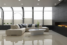 Contemporary stylish loft interior, with modern fireplace. Contemporary stylish loft interior with modern fireplace, and a beige leather sofa stock illustration