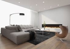 Contemporary stylish loft interior, with modern fireplace. Contemporary stylish loft interior with modern fireplace, and a grey sofa Stock Photos