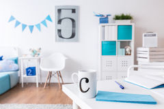 Contemporary stylish room of little student Royalty Free Stock Images