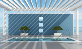 Contemporary summer house with pool Royalty Free Stock Image