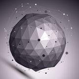 Contemporary techno black and white stylish sphere. Contemporary techno black and white stylish spherical construction placed over dark background, abstract stock illustration