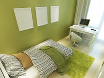 Contemporary teen room for green color with a bed and a desk. Stock Photography