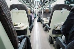 Interior view of modern speed train Stock Photo
