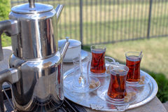 Contemporary Turkish Tea Served Stock Photography