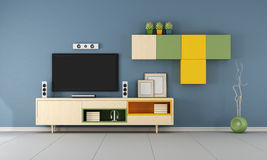 Contemporary  TV wall unit  in ablue room Royalty Free Stock Image