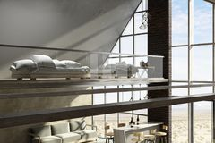 Contemporary two-storey house interior. Design with sofas and daylight. 3D Rendering Royalty Free Stock Photo