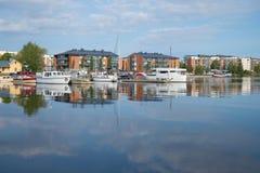 Contemporary urban waterfront Saimaa lake, august morning. Lappeenranta, Finland Royalty Free Stock Photography