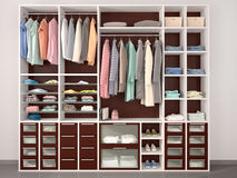 contemporary wardrobe with different things. Royalty Free Stock Photo