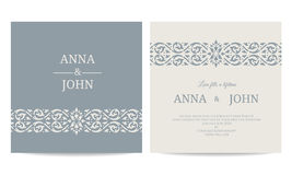 Contemporary Wedding Invitations card - line art gray blue tone vector design stock illustration