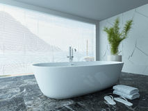 Contemporary white bathroom interior with marble floor Royalty Free Stock Images