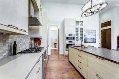 Contemporary white kitchen with high-end kitchen appliances. Contemporary white kitchen with Upscale kitchen appliances, custom built cabinets, kitchen Island stock photos