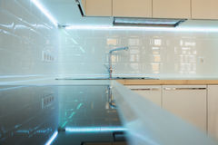 Contemporary white kitchen interior. close up Stock Photo
