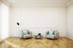 Contemporary white living-room with billboard. Contemporary white living room interior with empty billboard on wall. Mock up, 3D Rendering Royalty Free Stock Photo