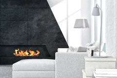Contemporary white living room interior with fireplace Stock Images