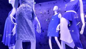 Violet Shop Window, Fashion Trends, NYC, NY, USA stock photos