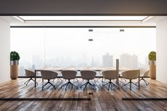 Contemporary wooden conference room interior. With panoramic city view and decorative plant. 3D Rendering royalty free illustration
