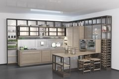 Contemporary wooden kitchen with black floor.  Royalty Free Stock Photo
