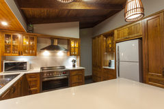 Contemporary wooden kitchen Stock Photography