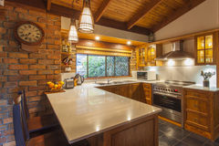 Contemporary wooden kitchen Royalty Free Stock Images