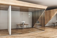Contemporary wooden office. Interior with reflections on glass. 3D Rendering stock illustration