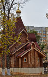 Contemporary wooden Orthodox church. Royalty Free Stock Photography