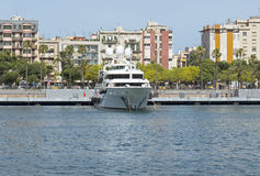 Contemporary yacht in Port of Barcelona Stock Image