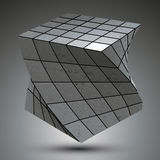 Contemporary zink squared stylish 3d construction, dimensional m Royalty Free Stock Images