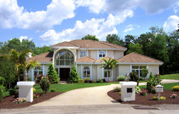 Contempory home 1. Contempory home blue skies and clouds. Florida home Stock Photos