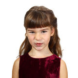 Contempt. Little girl with a scornful glance. Portrait isolated on white background Royalty Free Stock Photos