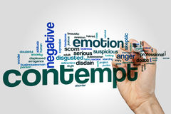 Contempt word cloud concept on grey background Royalty Free Stock Photography