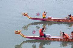 A contend of Chinese dragon boat Royalty Free Stock Image
