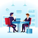 Contender work employees and job interview. Cartoon man employee. And interviewer boss meeting at desk in ceo office vector concept with flat characters on job Stock Image