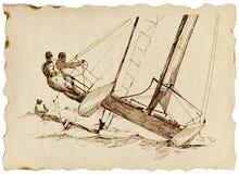 Contendiente - un catamarán rápido Fotos de archivo