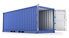 Contenedor azul abierto Fotos de archivo libres de regalías