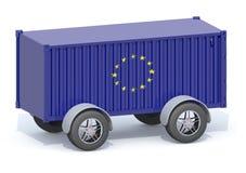 Contenedor euro de la bandera con las ruedas libre illustration