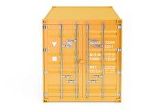 Contenedor para mercancías anaranjado, vista delantera representación 3d Fotos de archivo