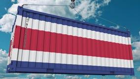 Contenedor para mercancías con la bandera de Costa Rica Representación conceptual relacionada 3D de la importación o de la export libre illustration