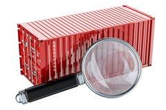 Contenedor para mercancías con la lupa Concepto de la búsqueda de los datos representación 3d libre illustration