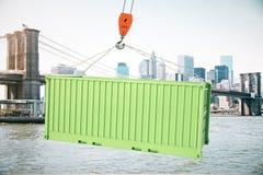 Contenedor para mercancías verde en el gancho Foto de archivo libre de regalías