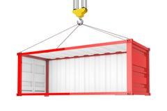 Contenedor rojo vacío con la pared lateral quitada durante el transporte con Crane Hook representación 3d stock de ilustración