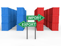 contenedores 3d con el tablero de la muestra de las importaciones/exportaciones Fotografía de archivo