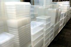 Contenedores de almacenamiento plásticos Fotografía de archivo libre de regalías