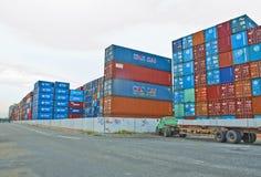 Contenedores de envío de la exportación Fotografía de archivo libre de regalías