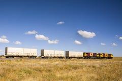 Contenedores en el movimiento en tren Imagen de archivo libre de regalías