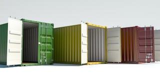 Contenedores para mercancías aislados en blanco ilustración del vector